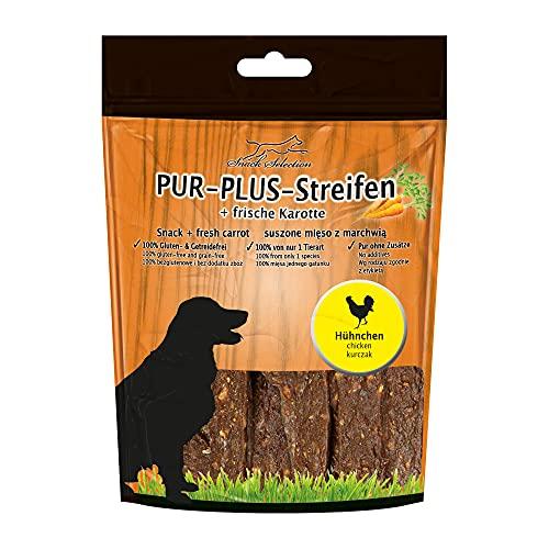 PUR Plus Lot de 10 bandes de 100 g de poulet et carotte 100 % sans gluten ni céréales Idéal pour les races de chiens sensibles et les personnes allergiques