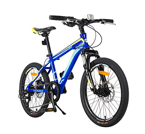 YEOGNED 20 inch Steel/Aluminum Mountain Bike for Boys/Girls with Disc Brake and Kickstand, Age for 8/9/10/11/12,Blue/Green/Orange/Yellow (Blue/Aluminum)