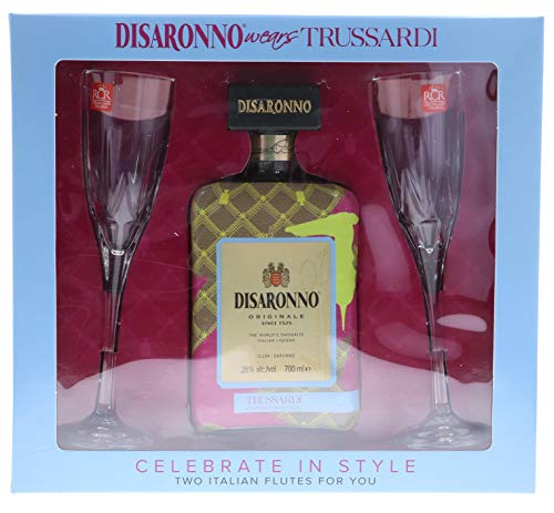 Disaronno Wears Trussardi with Two Italian Flute Glasses