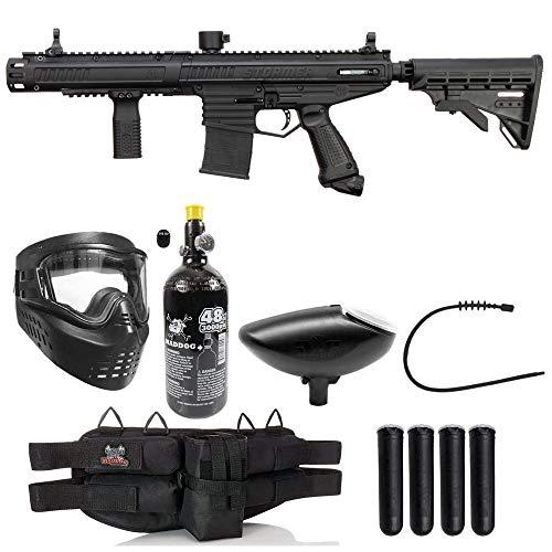 Maddog Tippmann Stormer Elite Dual Fed Silver HPA Paintball Gun Marker Starter Package - Black