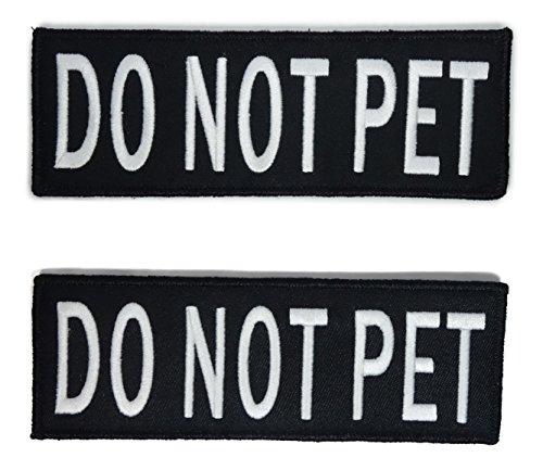 Leash Boss Do Not Pet Westen-Aufnäher, bestickt, 2 Stück, Haken & Schlaufen auf beiden Seiten, 3 (nicht für Haustiere, mittelgroß, 3,8 x 10,2 cm)