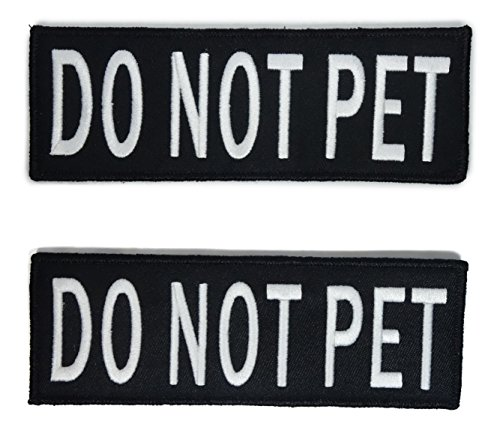 Leash Boss Service Dog Vest Patches - Embroidered 2 Pack - Hook and Loop Both Sides - 3 Sizes (Do Not Pet, Large - 2 x 6 Inch)