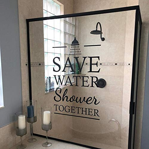 Crjzty Sparen Sie Wasser Dusche zusammen zitieren Vinyl Wandbilder Badezimmer Innendekoration abnehmbare Dusche Stil Schriftzug Wandaufkleber Aufkleber27 *42 cm