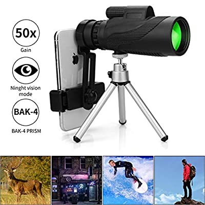 Monocular Telescope, 12X50 HD Low Night Vision Waterproof- Shockproof High Power and Phone Adapter, Tripod Holder for Bird Watching Hunting Camping Hiking Travelling Secen[Best Telescope 2020] from Schine