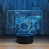 Drum Set a Colorful Lamp Dormitorio Oficina decoración del hogar lámpara de Escritorio niño luz de Noche