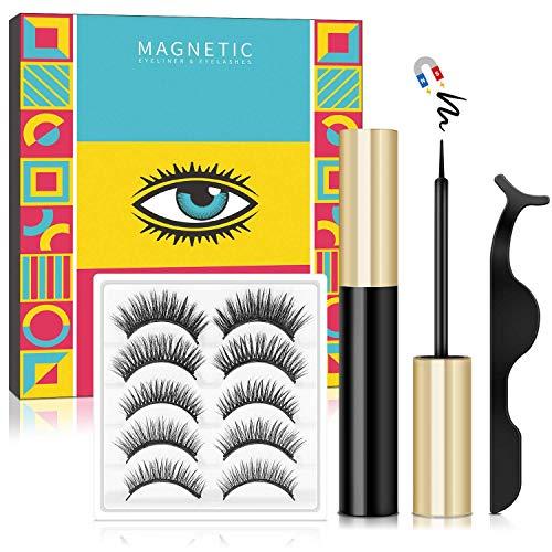 Magnetische Wimpern,Magnetic Eyeliner Und Magnetic Eyelashes Set,Natürlich Wasserdicht Falsche...