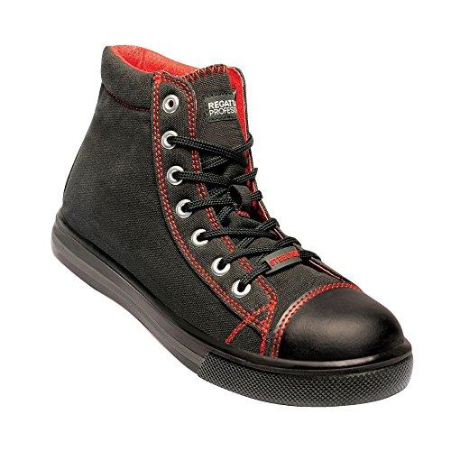 Regatta Hardwear - Zapatillas Deportivas de Trabajo en Piel Playoff SBP para Chico Hombre (45 EU) (Negro/Rojo)