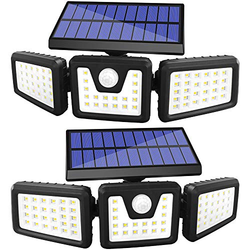 GSBLUNIE Solar Lights Outdoor 2PACK,3 Adjustable Heads 800LM Solar Motion Sensor Outdoor Light, 70Leds IP65 Waterproof Solar Flood Lights Outdoor Motion Sensor for Front Door,Yard,Garage and Pathway
