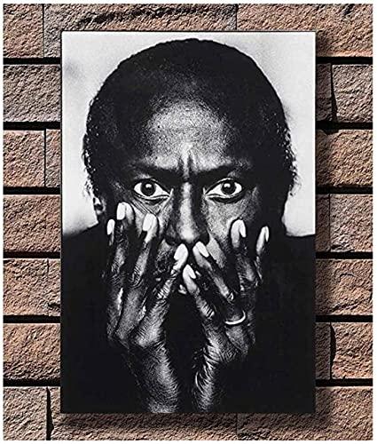 マイルスデイヴィカインドオブブルージャズミュージックアルバム白黒ポスターとプリントキャンバスウォールアートリビングルームの装飾用-40x60CMフレームレス