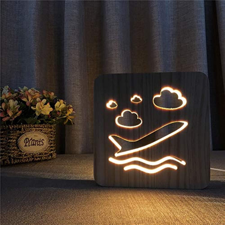LDAKLE 3D Nachtlicht Flugzeug Holz Dekor Nachtlicht USB DIY Anpassen Led Urlaub Schlafzimmer Dekorative Led Geschenk