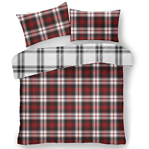 Lions Flannelette Duvet Cover Set, 100% Brushed Cotton Scottish Tartan Check Bedding with Pillowcase, Reversible Quilt, Easy Care, Charcoal/Red, Double Size