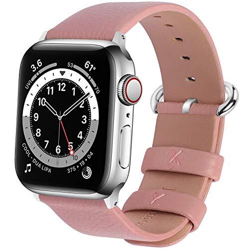 Fullmosa Compatible avec Bracelet Apple Watch 38mm/40mm,Bracelet iWatch Series SE/6/5/4/3/2/1 Band en Cuir de Remplacement pour Femme Homme YanSeries,Rose,38mm/40mm