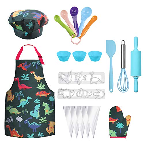 Anpro Complete Kids Cooking and Baking Set - 27 Pcs Includes Aprons for Girls, Chef Hat, Mitt & Utensil to Dress Up Chef Costume Career Role Play for 6-12 Years Boys
