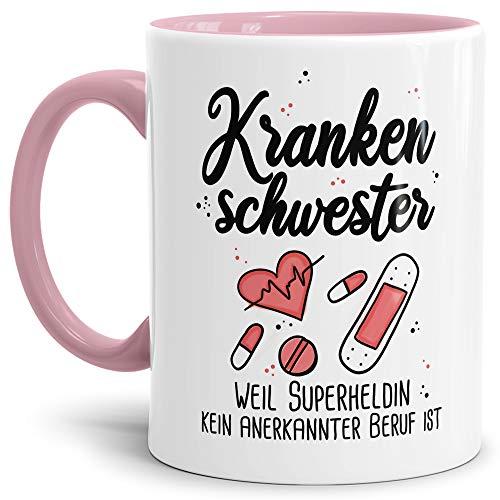 Tassendruck Berufe-Tasse Superheldin Krankenschwester - Kaffee-Tasse mit Spruch/Arbeit/Job/Lustig/Geschenk-Idee - Innen & Henkel Rosa
