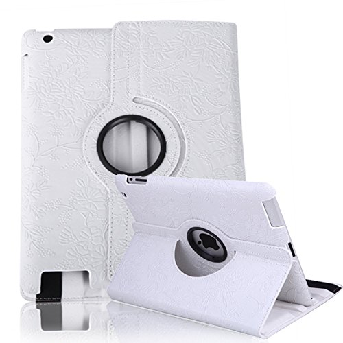 HDE iPad 2 iPad 3 iPad 4 Rotating Case 360 Degree Magnetic Cover Stand for 2nd 3rd 4th Generation iPad (White)