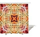 Yeuss Tie Dye Dekor Duschvorhang von, Authentic Popular Beat Kultur Leben Design mit Spectral Ethnic Hipster Bild, Stoff Badezimmer Dekor Set mit Haken, Rot-Orange