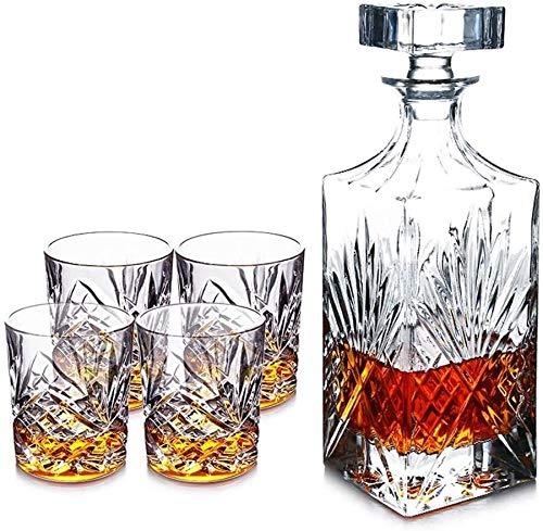 LCY Whiskey Karaffe Whiskey Decanter, 4er-Set Gläser und Geschenk-Sets Claret Jug, Wein-Set Sätze Von 5 (Size : A)