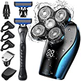 Head Shavers for Bald Men, OriHea Electric Head Shaver for Man with Extra Razor Handle Grooming Kit-Waterproof, Faster-Charging LED Display, 5D Floating