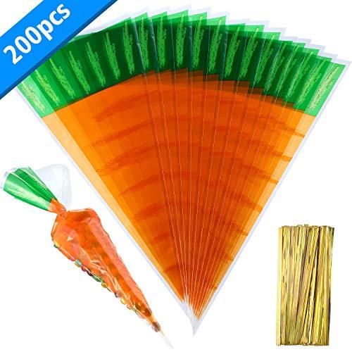 Boao 200 Zählt Ostern Karotte Gemustert Kegel Zellophan Taschen Treat Goody Taschen mit 200 Stücke Gold Drehung Krawatten für Ostern Party Gefallen
