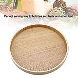 Holz Serviertablett, Rund Couchtisch Tablett Dekoteller Holz Holzteller für Küche Restaurant(24cm) - 4