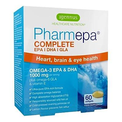 Pharmepa Complete (Formerly Maintain) Omega-3 1000mg EPA & DHA Wild Fish Oil, Omega-6 GLA Evening Primrose Oil, Fast-Acting rTG Form, 60 Capsules