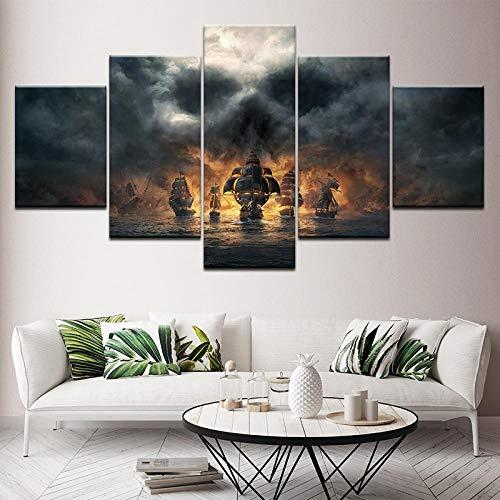 ZDDBD 5 Piezas de Pintura de Lienzo de Piratas del Caribe, imágenes artísticas de Pared de película, Fondos de Pantalla modulares, póster Impreso para decoración de Sala de Estar
