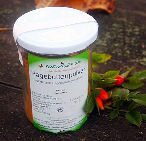 Naturix24 Hagebuttenpulver aus ganzen Hagebutten gemahlen in Rohkostqualität, im Schraubglas
