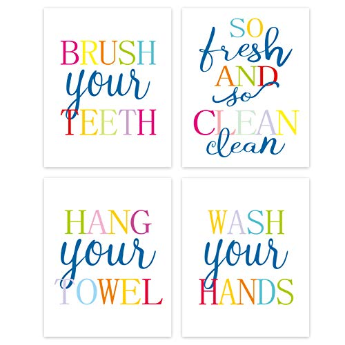 Funny Bathroom Quote&Saying Art Print Watercolor Lettering Sign Wall Art Painting Poster ,Colorful Bathroom Rules Typography Cardstock Poster For Kids Washroom Decor (set of 4, 8'' x 10'' ,Unframed)