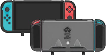 Manji Command Shell - Black Color Nintendo Switch Case with Straps Ultra Durable Hard TPU Shell Cover Case with Anti-Shock Scratch Protection and Soft Touch Comfort Grip