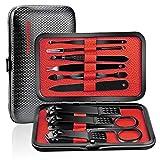 Profesional Cortaúñas Acero Inoxidable Grooming Kit - Set de 10 Piezas para Manicura y Pedicura (Rojo)