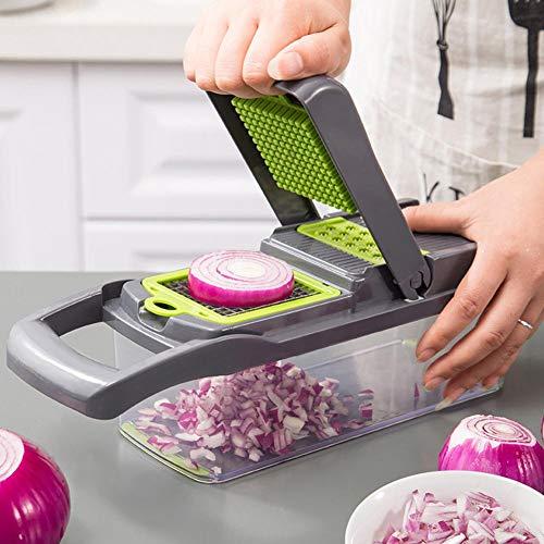 Cortador de verduras de plátano, 7 en 1, cortador de cebolla ajustable, cortador de verduras, cortadora de verduras, en dados, triturada, herramienta de cocina ajustable con cuchillas multifunción, cortador de picadores (grado alimentario) ricamente