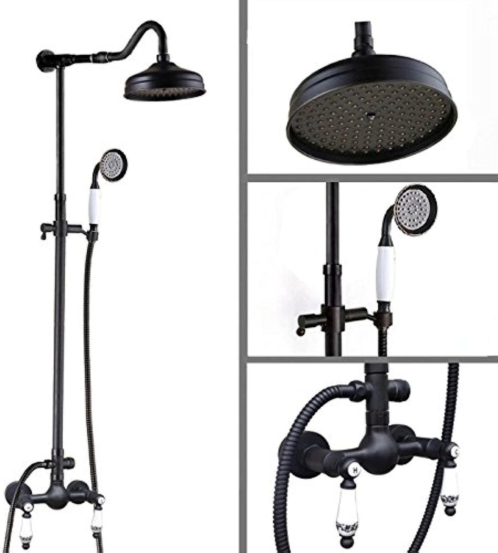 Luxurious shower Doppel Griff 8  Regendusche schwarzes l eingerieben Bronze Wandhalterung Bad Regendusche Wasserhahn Set W Handbrause Crs 813, schwarz