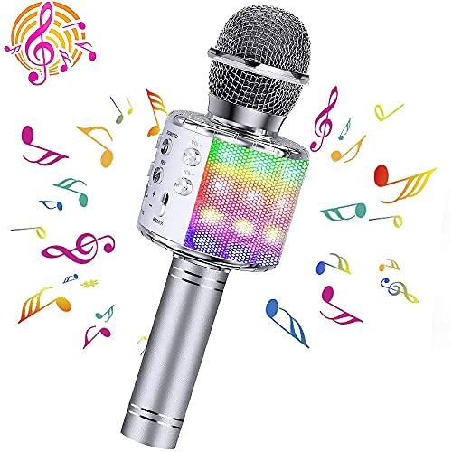 5 en 1 grabación, micrófono de canto, luces LED bailando máquina de altavoz portátil, micrófono Bluetooth inalámbrico para teléfono, almohadilla o TV