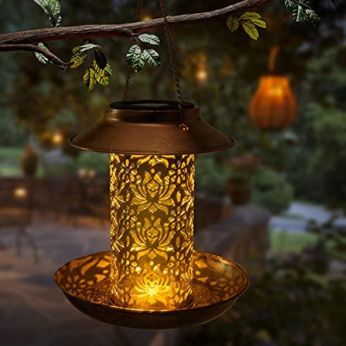 OLIKER Solar Bird Feeder Decorative Metal Panels Hanging Bird House with Light for Feeding Wild Bird Feeder Outdoors Hanging Gift for Bird Lovers Outdoor Garden Backyard Decoration