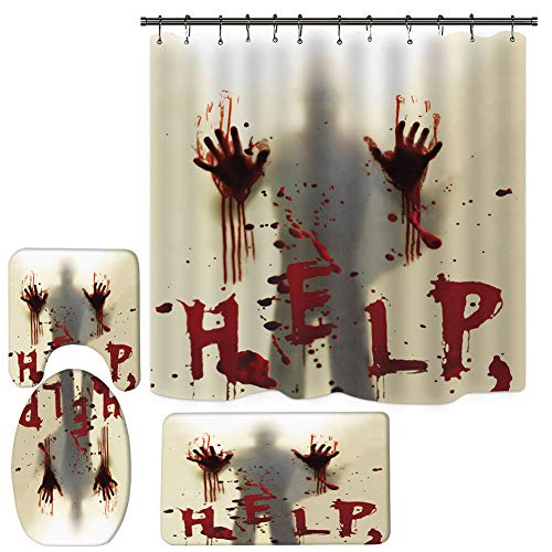 4PCS Halloween Shower Curtain Set, Bathroom Shower Curtain Sets with Rugs, Help with Bloody Hands Shower Curtain with 12 Hooks (71 Inch x 71 Inch)