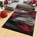 Tapiso Maya Alfombra de Salón Sala Comedor Diseño Moderno Rojo Gris Negro Moteado Delgada Pelo Corto 220 x 300 cm