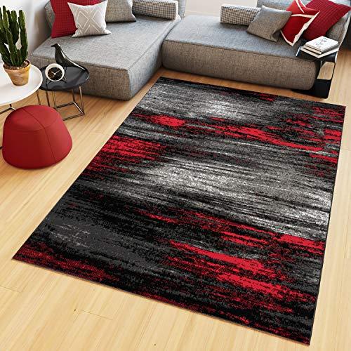 Tapiso Maya Tappeto a pelo corto moderno screziato a strisce, design nero grigio rosso bianco soggiorno camera da letto ÖKOTEX 120 x 170 cm