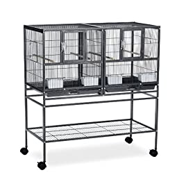 Prevue Pet Products F070 Hampton Deluxe Divided Breeder Cage with Stand,Black Hammertone,1/2″