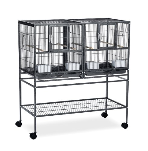 Prevue Pet Products F070 Hampton Deluxe Divided Breeder Cage with Stand,Black Hammertone