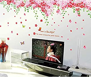 Sakura Butterfly Sofa Of The Sitting Room Window Glass Wedding Room Wall Stickers