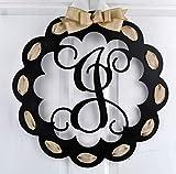 Letter J - Monogrammed Door Hanger | Mom Gift | Black and Burlap Everyday Year Letter Door Hanger