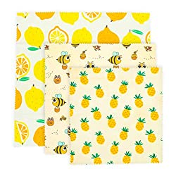 Beeswax Wraps - lemon, bee, and pineapple print