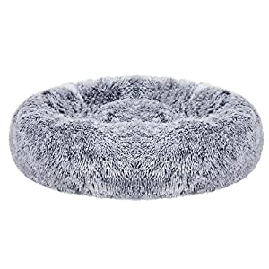 FEANDREA Dog Bed, Cat Bed, Soft Plush Surface, Donut-Shaped Dog Sofa with Removable Inner Cushion, Washable