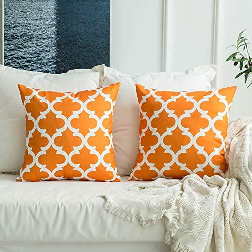 MIULEE 2 Piezas Fundas de Cojines Almohada Caso de la Lino Cubierta del Moderno Amortiguador Decorativo Duradero Decoración para Sofá Cama18 x18 Inch 45x45 cm Naranja