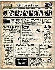 MONLEYTA Póster de Tarjeta de cumpleaños con decoración de Mesa Vintage con Clase, Decoraciones de cumpleaños del 30 al 80 E