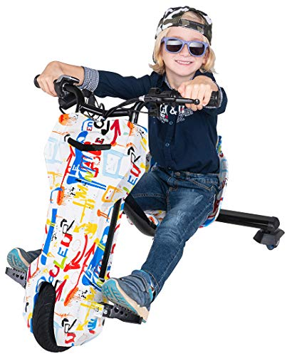 Actionbikes Motors Kinder Elektro Driftscooter 360 Grad - 250 Watt Elektromotor - 3 Geschwindigkeitsstufen - Speed Control (Grafit Weiß)