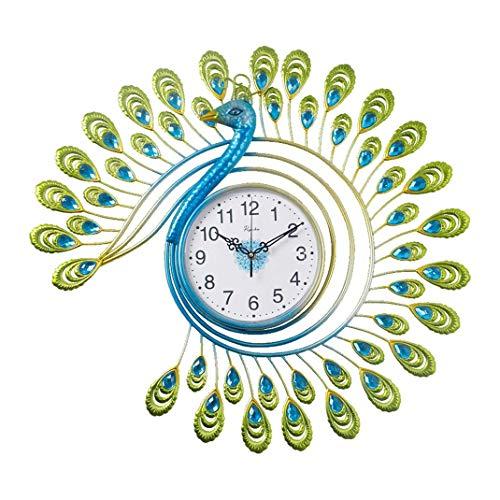 Reloj de pared verde tipo pavo real, decoración de la pared de la sala de estar Arte Silencio sin marca Tick Reloj de cuarzo industrial, reloj electrónico silencioso de lujo de cristal