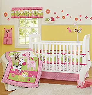 9-Piece Crib Bedding Woodland Theme Sets Cotton Tiger King Zebra Giraffe and Monkey Zoo Hypoallergenic Crib Nursery Bedding Set with Bumper for Baby Boys and Girls Pink