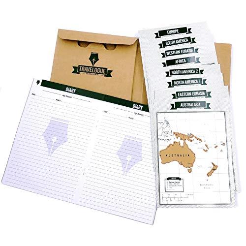 JZK Diario de viaje travelongue con mapas rascar para viajero cuaderno de viaje regalo cumpleaños navidad