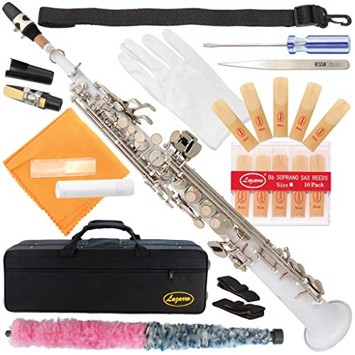 Lazarro White-Silver Keys Bb B-Flat Straight Soprano Saxophone Sax Lazarro+11 Reeds,Care Kit~24 COLORS Available-310-WH
